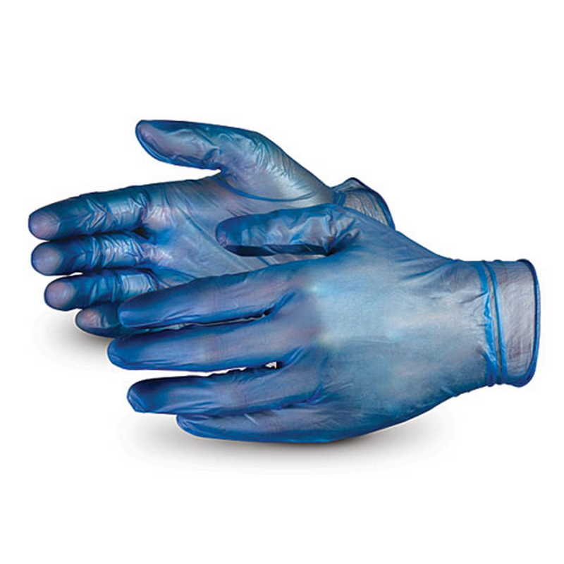 Detectable Blue Vinyl Powder Free Gloves - Large (100/pack)