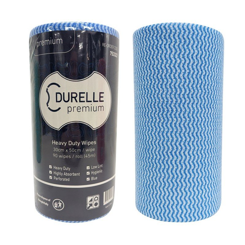 Durelle Perforated (30 x 50cm) Wipes Blue 45m 90 sheets/roll (each)