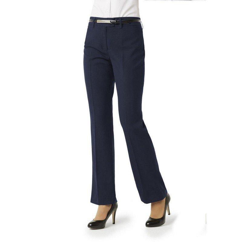 Ladies Classic Flat Front Trousers Navy - Size 12 (each)