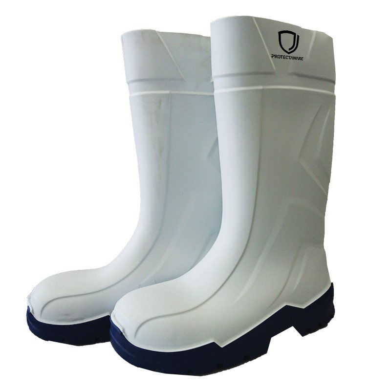 Protectaware White PU Gumboot Non Safety Toe Size 11/45 (1 pair)