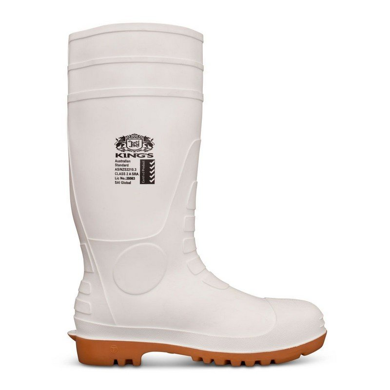 Kings White PVC Gumboot Safety Toe Mens Size 10 (44) (1 pair)