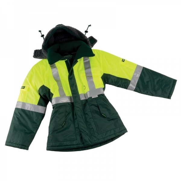 Reflective Freezer Jacket with removable Hood Green/Yellow Large (each)