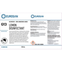 Eurosan Label G13 Lemon Disinfectant  (to suit 500ml-1000ml Bottle) (each)