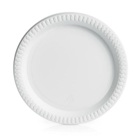 Small White Plastic Plate 180mm (50/pack)