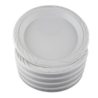 Large White Plastic Plate 230mm (50/pack)