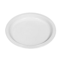 White Oval Plastic Plate 210mm x 300mm (50/pack)