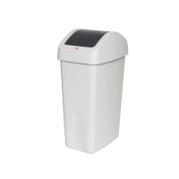 White Swing Top Bin with Charcoal Lid 55L (each)