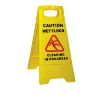 Supercedes 611608 - Caution Wet Floor Cleaning in Progress A Frame Sign Yellow