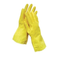 Yellow Flock Lined Gloves Medium - Size 8 (1 pair)