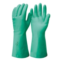 Green Nitrile Flock Lined Gloves 33cm - Large Size 9 (1 pair)