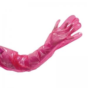 Vet Polyethylene Red Gloves Shoulder Length 830mm (100/pack)