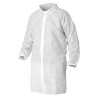 Protectaware Disposable Polypropylene Lab Coat No Pocket White Large (100/ctn)