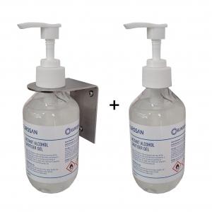 Eurosan Hand Sanitiser Starter Pack (1 x Stainless Steel  Bracket & 2 x 250ml Re