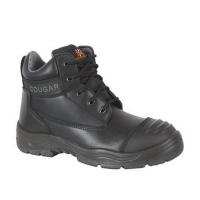 Lace Up Safety Boots with Safety Toe Black Mens Size 5 (1 pair)