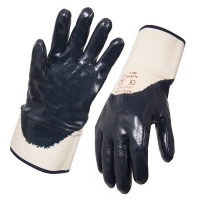 Blue Nitrile 3/4 Dipped Glove with Safety Cuff Large (1 pair)