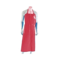 Polyurethane Reusable Apron 90cm (W) x 120cm (L) with Strap & Clip Red (each)