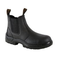 Elastic Sided Safety Boots with Safety Toe Black Mens Size 4 (1 pair)