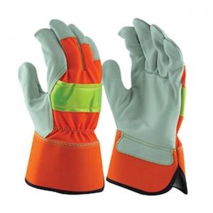 Hi Vis Leather Rigger Gloves Large Size 10 (1 pair)