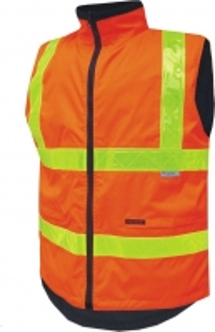 Hi Vis Day/Night Full Zip Polar Fleece Vic Roads Reversible Vest - Orange Large