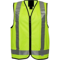 Hi Vis Anti Static Reflective Safety Vest 100% Cotton Day/Night Use Yellow Large