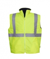 Reversible Hi Vis Reflective Safety Vest Day/Night Use Yellow/Navy Medium (each)