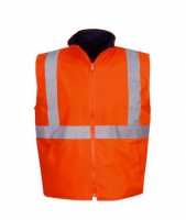 Reversible Hi Vis Reflective Safety Vest Day/Night Use Orange Small (each)