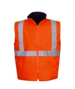 Reversible Hi Vis Reflective Safety Vest Day/Night Use Orange 5XLarge (each)