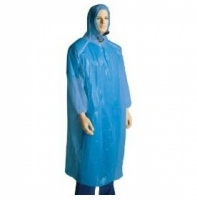 Polyethylene Poncho with Hood & Elastic Sleeves Blue (100/ctn)