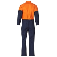 Hi Vis 100% Cotton Heavy Drill Orange/Navy Coverall with Cargo Pocket and Guset