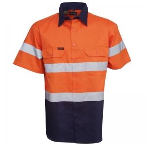 Hi Vis Day/Night Orange/Navy Short Sleeve Cotton Drill Shirt Collar 37cm Chest 5