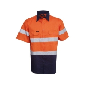 Hi Vis Day/Night Orange/Navy Short Sleeve Cotton Drill Shirt Collar 44cm Chest 6