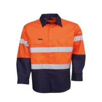 Hi Vis Day/Night Orange/Navy Long Sleeve Cotton Drill Shirt Collar Small (each)