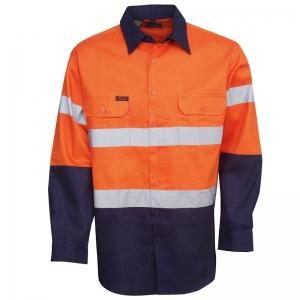 Hi Vis Day/Night Orange/Navy Long Sleeve Cotton Drill Shirt Collar Large (each)