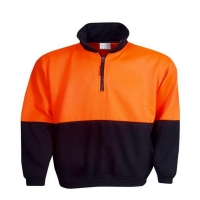 Hi Vis Half Zip Fleecy Jumper Orange/Navy Chest 64cm Large (each)