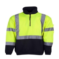 Hi Vis Day/Night Half Zip Fleecy Jumper Yellow/Navy Chest 58cm Small (each)