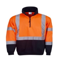 Hi Vis Day/Night Half Zip Fleecy Jumper Orange/Navy Chest 64cm Large (each)