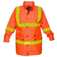 Hi Vis Day/Night Road Jacket with Yellow Reflective Tape Orange - 2XLarge