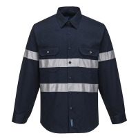 Navy Long Sleeve Cotton Drill Shirt with Reflective Tape Small (each)